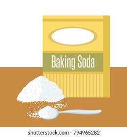 Baking Soda box. Spoon with white powder. Pile of sodium bicarbonate.