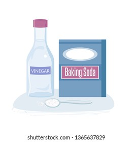 Baking Soda box and vinegar. Spoon with white powder. Pile of sodium bicarbonate in bowl.
