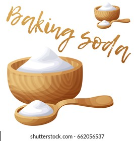 Baking soda. Cartoon vector icon isolated on white background. Series of food and drink and ingredients for cooking