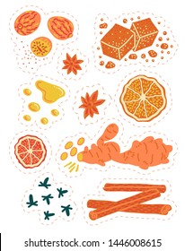 Baking spices, mulled wine ingredients hand-drawn vector stickers with sugar, cinnamon, nutmeg, potpourri oranges, cloves, ginger, honey, star anise. Isolated with die cut on white backround.