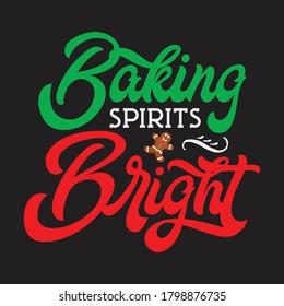Baking spirits bright Christmas vector.