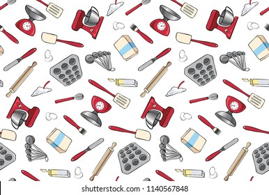 Baking Tools and Ingredients Seamless Vector Pattern