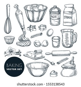 Baking tools and ingredients. Vector hand drawn sketch illustration. Cooking and recipe design elements set, isolated on white background. Kitchen utensils for pastry.