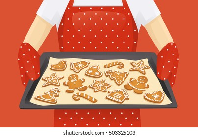 Baking tray with christmas homemade gingerbread cookies background