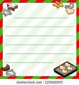 Baking tray, cutters and christmas cookies in different shapes and sizes (bakery template, framed and lined for your own text)