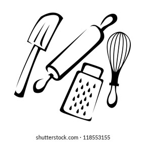 Baking utensil set in black and white line art, vector illustration