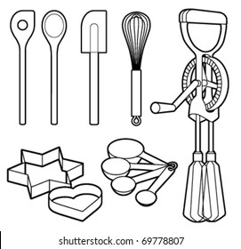 Baking utensils collection - Vector illustration