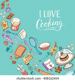 Baking utensils in doodle style. Recipe book cover concept. Cafe and restaurant menu design concept.