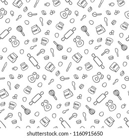 Baking utensils and ingredients seamless pattern for your design project, wallpaper, textile fabric or wrapping paper.