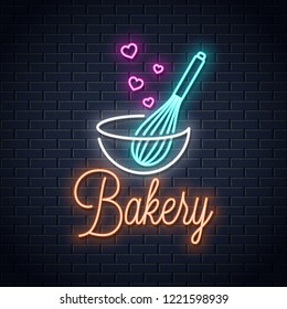 Baking with wire whisk neon sign. Bakery neon banner on wall background