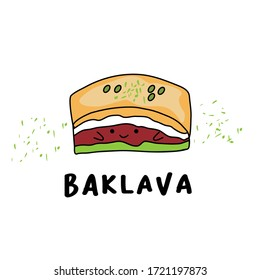 baklava character cute illustration, good for mascot, menu icon restaurant, print at mug and etc