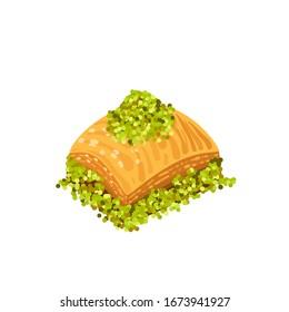 Baklava, turkish sweet dessert, vector illustration cartoon icon isolated on white.