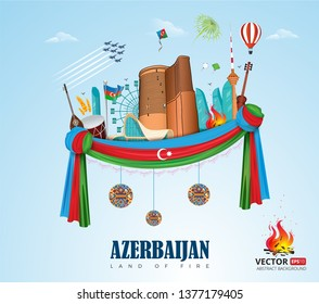 Baku Azerbaijan city vector flag illustration banner background. Independence day, Republic day, Military day label, sticker, booklet, flayer, brochure flat tourism sky land of fire formula f1