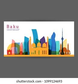 Baku colorful architecture vector illustration, skyline city silhouette, skyscraper, flat design.