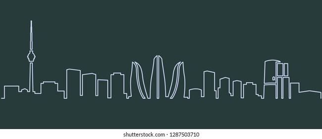 Baku Single Line Skyline