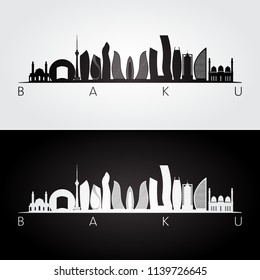 Baku skyline and landmarks silhouette, black and white design, vector illustration.