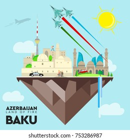 Baku vector Azerbaijan flag vector illustration banner background.Independence day, Republic day, Military day label, sticker, booklet, flayer, brochure creative infographic map flame towers mosque