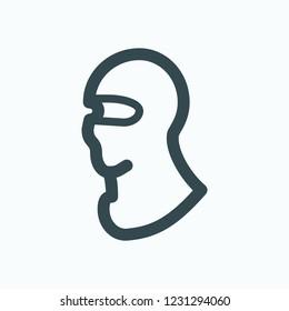 Balaclava icon, sport motorcycle mask  balaclava vector icon