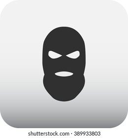Balaclava terrorist military mask simple icon on square background