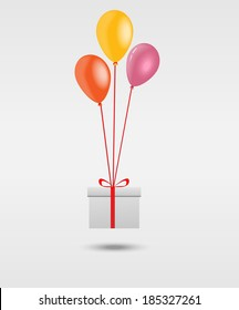 Balallons and gift box vector design