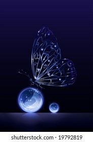 Balance (artificial crystal butterfly sitting on glass balls)