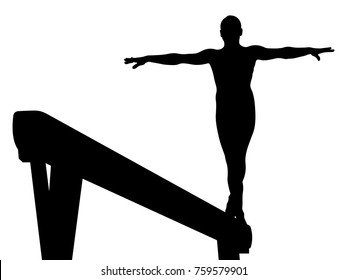 balance beam girl gymnast in artistic gymnastics vector illustration