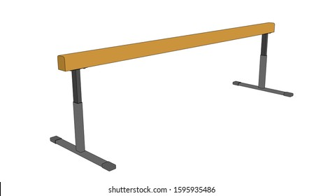 Balance beam. Gymnastic equipment. Vector outline illustration. Isolated on white background.