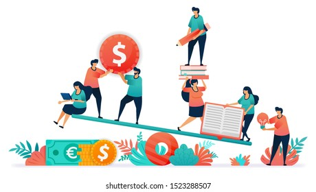 Balance between finance and education. Cost of education is expensive and less affordable. Ideas and money in learning outcomes. Teeter or scale in study and get a job. Students financial management