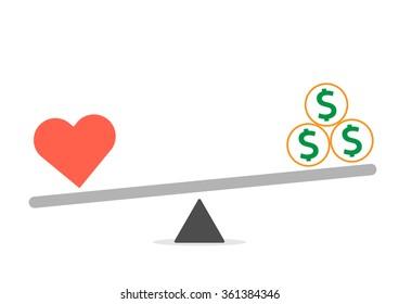 Balance between Heart and money vector