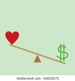 Balance between Heart and money vector