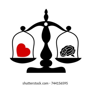 Balance between irrational love, emotions, feelings, heart and rational reason, brain. Rationality and rationalism against irrationality and irrationalism. Vector illustration of weight with symbol