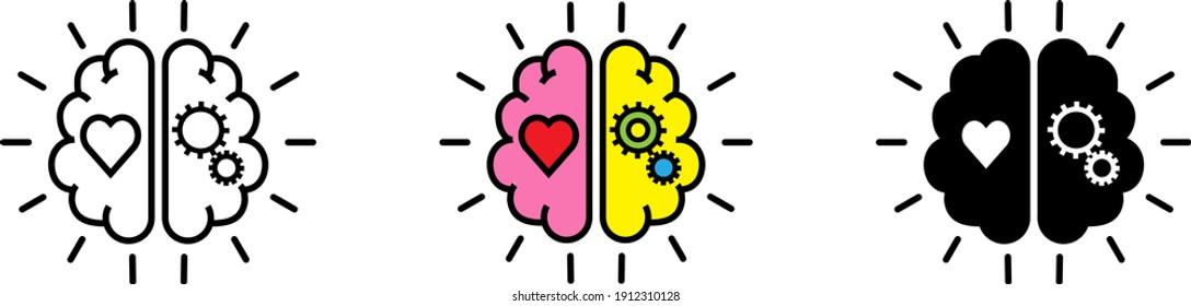 Balance Between Logic And Emotion icon , vector illustration