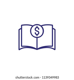 Balance book line icon. Budget, money, dollar symbol, textbook. Finance management concept. Can be used for topics like accounting, economics, book keeping, education