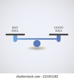 Balance concept bad idea and good idea with scales illustration
