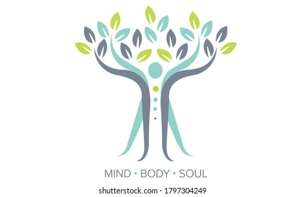 Balance concept. Mind, Body, Soul. Vector Illustration showing spiritual human body / abstract tree. Can be used to show balance, chakra, stability, therapy, happiness, mindfulness, spirituality, soul