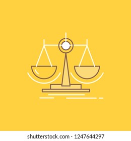 Balance, decision, justice, law, scale Flat Line Filled Icon. Beautiful Logo button over yellow background for UI and UX, website or mobile application