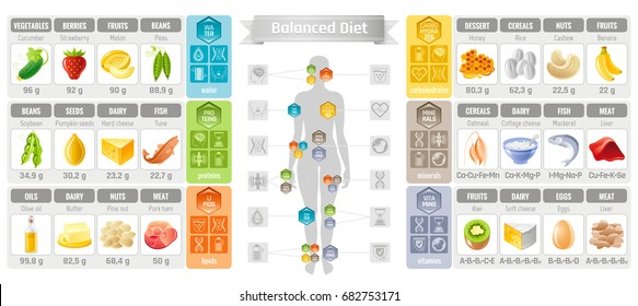 Balance diet infographic diagram poster. Water protein lipid carbohydrate mineral vitamin flat icon set. Table vector illustration human health care, medicine chart. Food Isolated white background