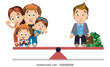 Balance with difficult choice: family life with children or career and plenty of money. marriage or wealth. As a result of all-consuming work businessman is lonely and unhappy. Vector cartoon.