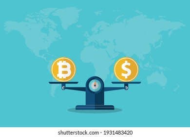 Balance Dollar VS Bitcoin. Vector illustration.