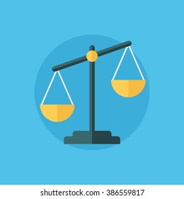 Balance icon. Law balance symbol. Justice scales icon. Flat design vector illustration.