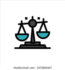 Balance, Law, Justice, Finance  Flat Color Icon. Vector icon banner Template