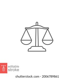 Balance lawyer icon. Law firm logo scale. Equilibrium Scale Balance, Justice symbol for web site or mobile app. outline style. editable stroke. vector illustration. design on white background EPS 10