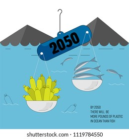 Balance scale as a gimmick to inform situation of ocean plastic pollution in 2050. More plastic in ocean than fish concept. Vector illustration.