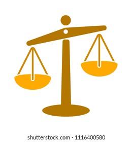 Balance scale icon, balance symbol - justice sign