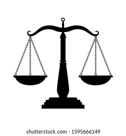 Balance scales black icon. Judge scale silhouette image, trading weight and law court symbol vector illustration, black truth balancing elements on white background