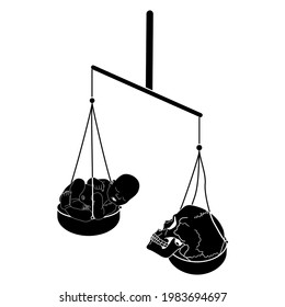 Balance scales weighing newborn baby against human scale. Juxtaposition of life and death. Creative concept. Black and white silhouette. Memento mori. Vita brevis.
