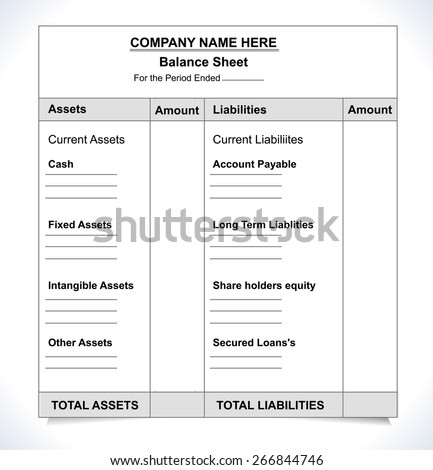 balance sheet format unfill paper balance stock vector royalty free