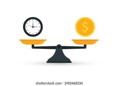 Balance of time and money on the scales. Money time scale icon. Vector illustration