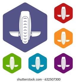 Balance vehicle icons set hexagon isolated vector illustration