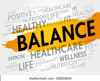 BALANCE word cloud collage, health concept background